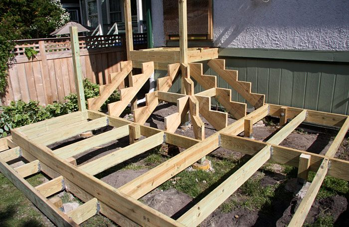 Best Corner Deck Stairs Stained Cedar Deck With Painted Trim 640 x 480