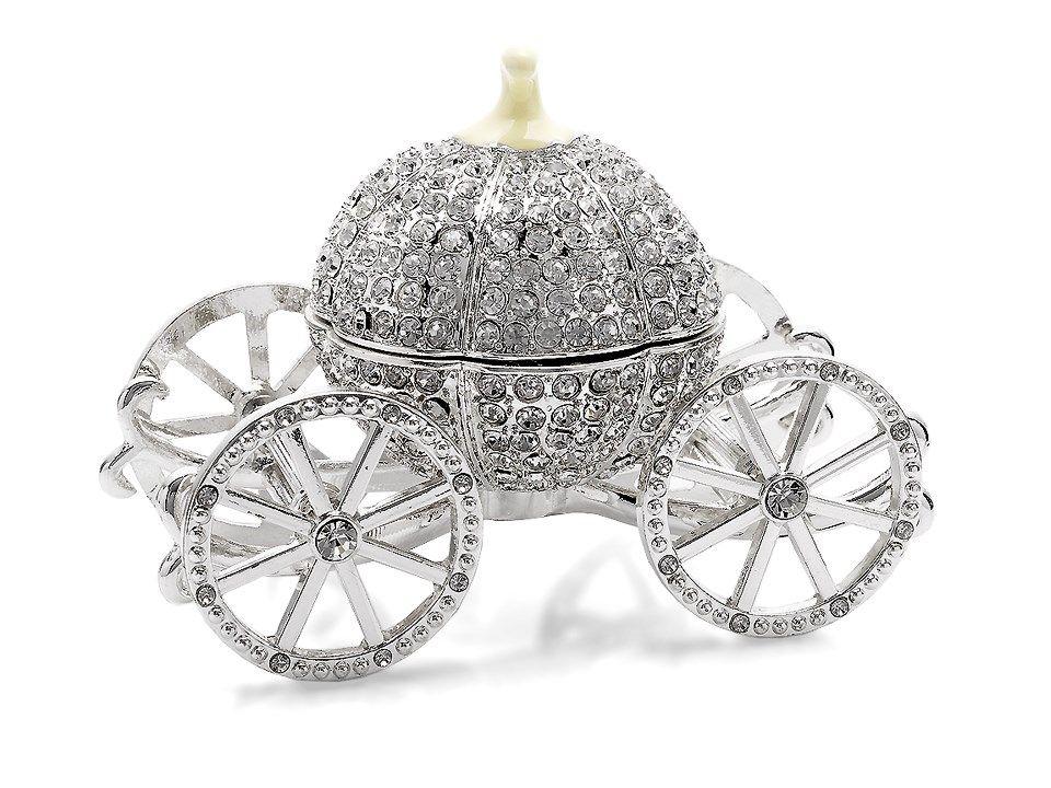 White Tiger Diamante Decorated Jewelled Trinket Box