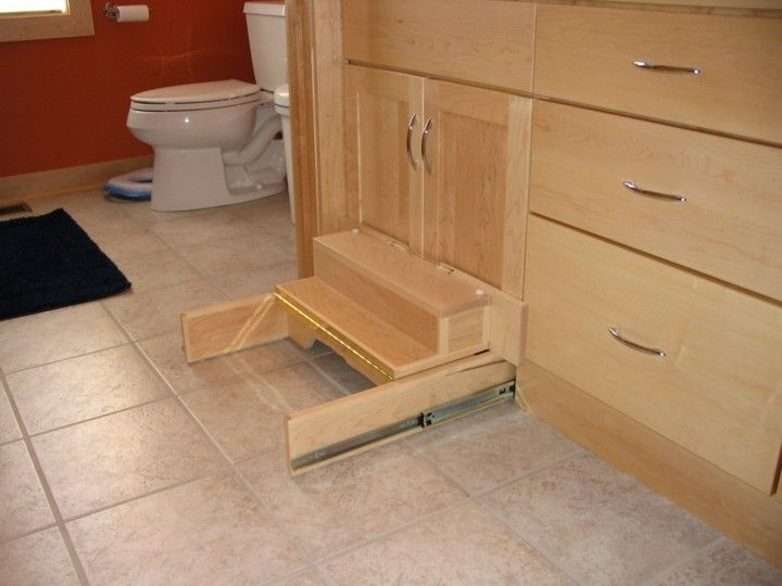 Retractable step stool in kitchen cabinets google search cabinets pinterest stools - Retractable kitchen cabinet doors ...