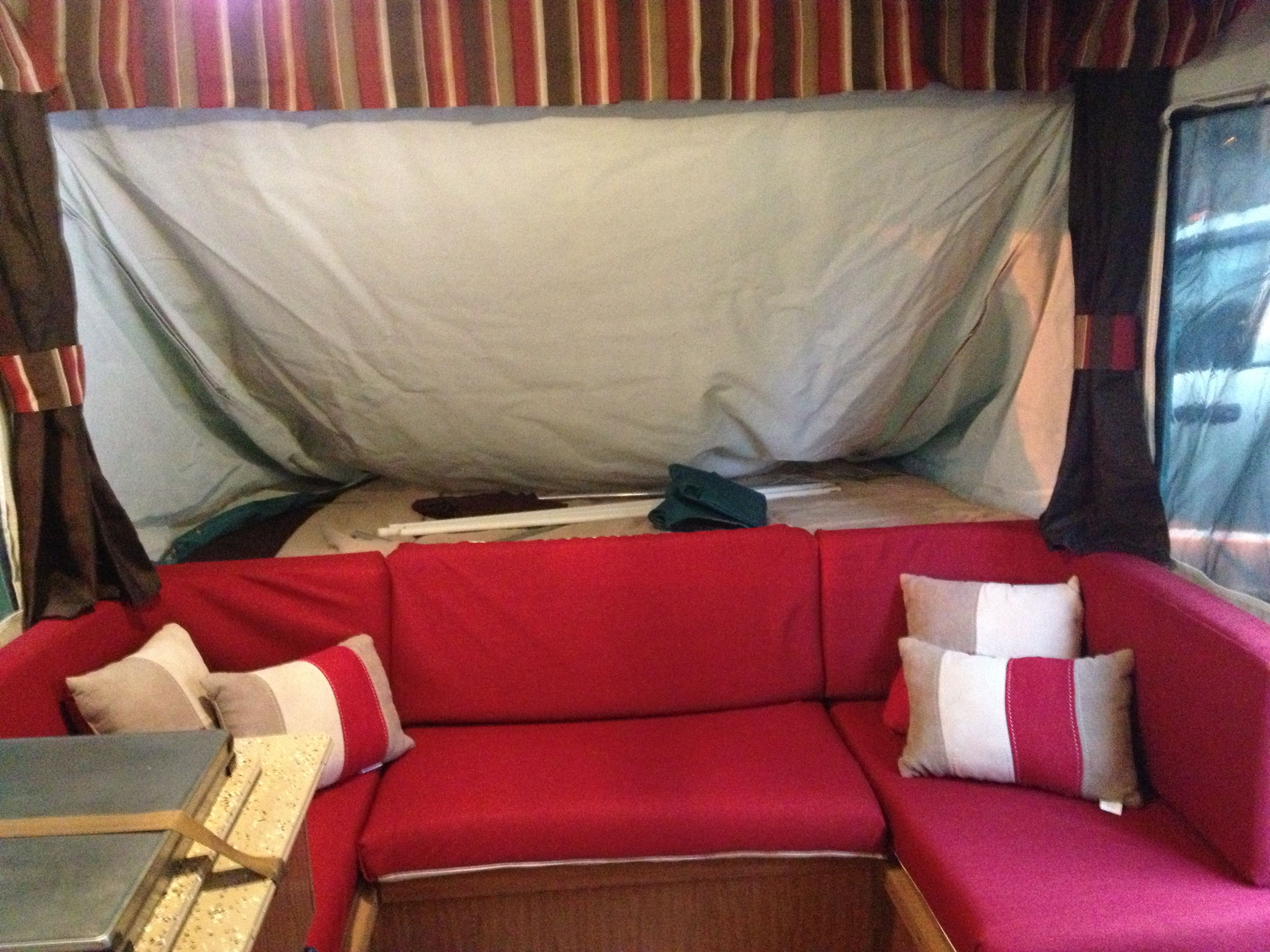 9 Awesome Pop Up Camper Decorating Pic Ideas. custom upholstery and curtains for our pop up camper   Mine All