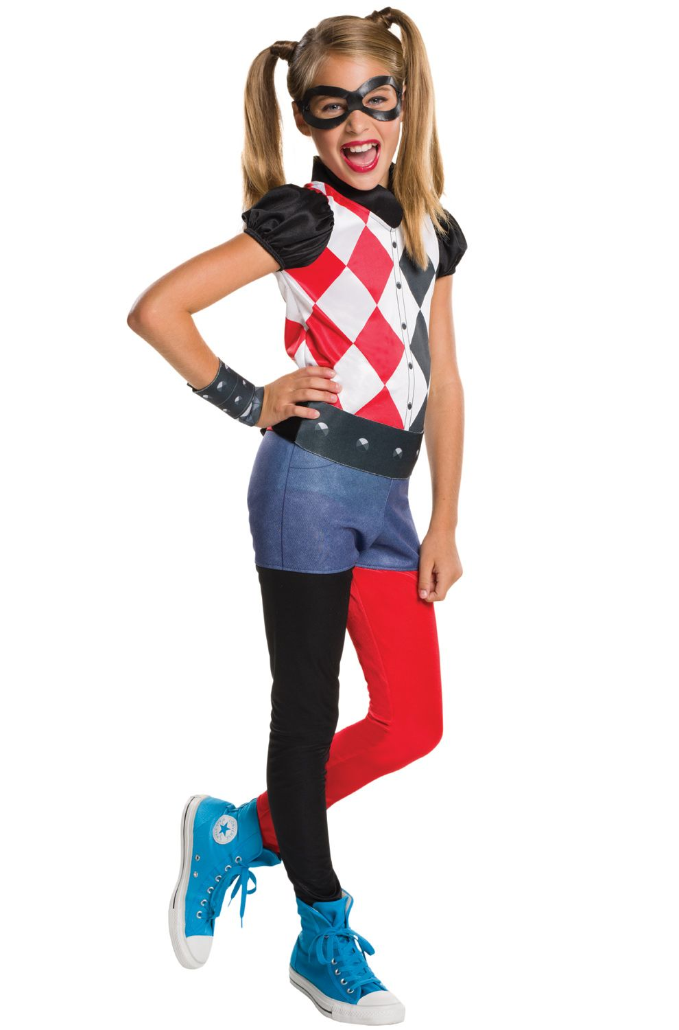 Fancy Dress Womens Girls Harley Quinn Red Blue Metallic Super Hero Costume Squad