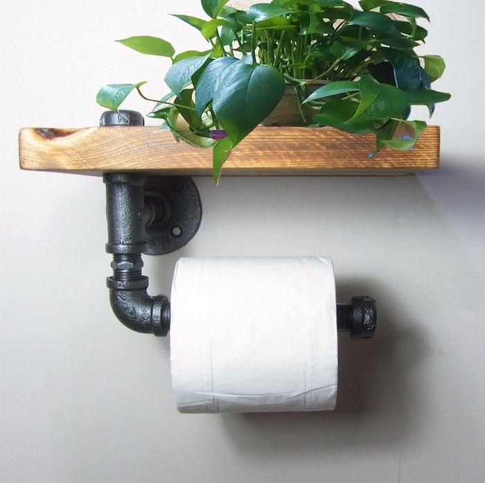Exceptional Industrial Urban Rustic Iron Pipe Toilet Paper Holder Roller With Wood Shelf