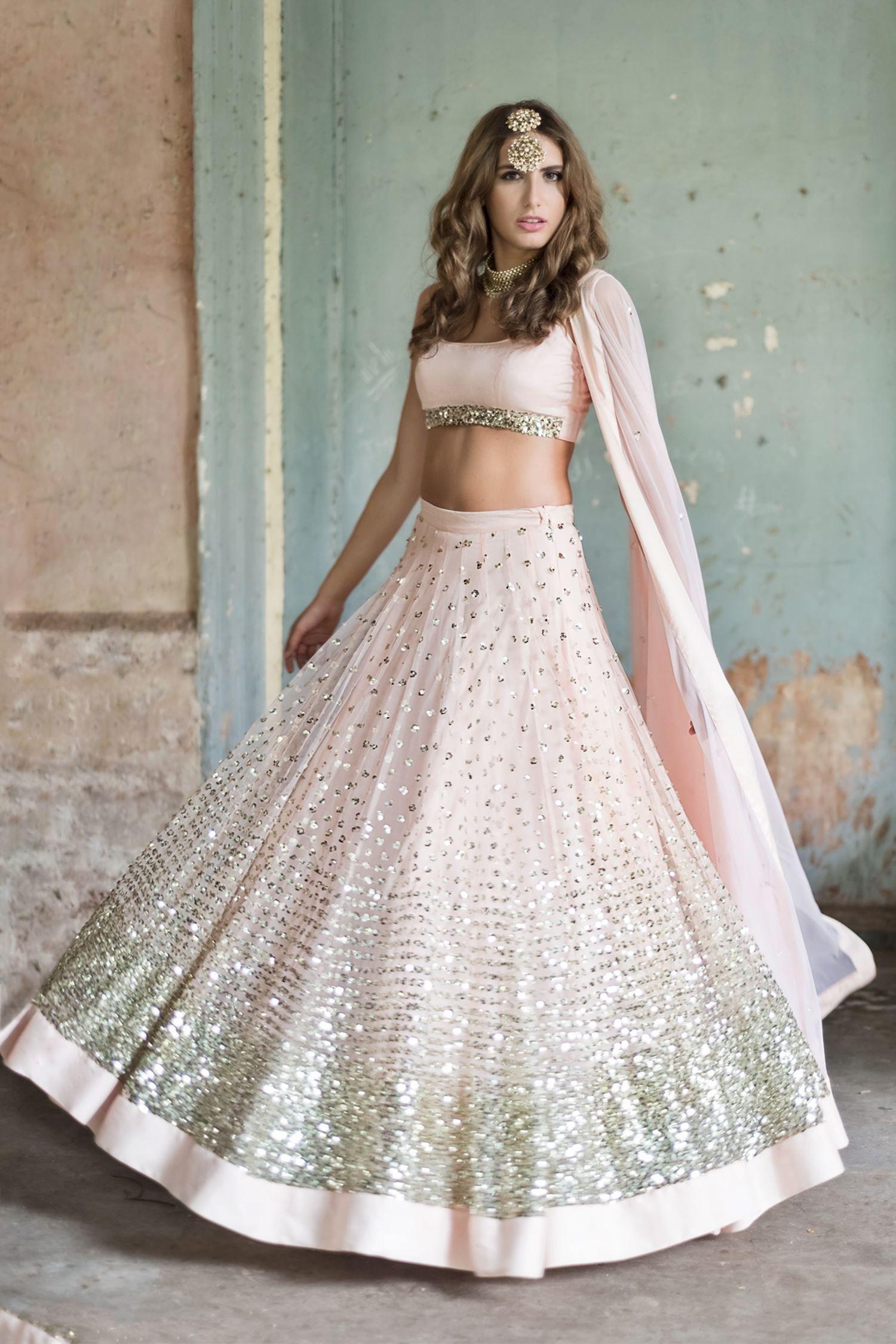 d97b4ceb08 Blush pink embellished glitter lehenga set by Prathyusha Garimella - Shop  at Aza