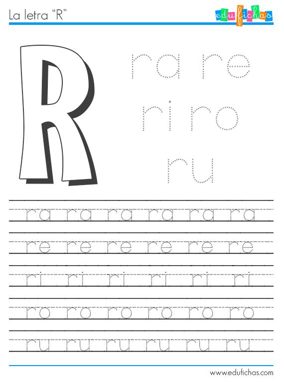 Fichas de sílabas con r. Ficha de la letra R + vocal, con ejercicio para repasar las sílabas. Además, descarga fichas educativas de BR, CR, DR, FR, GR y TR.