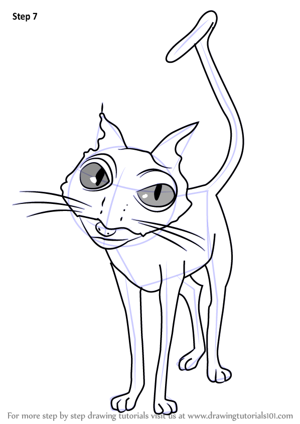 Learn How To Draw Cat From Coraline Coraline Step By Step Drawing Tutorials In 2020 Coraline Drawing Coraline Art Drawings