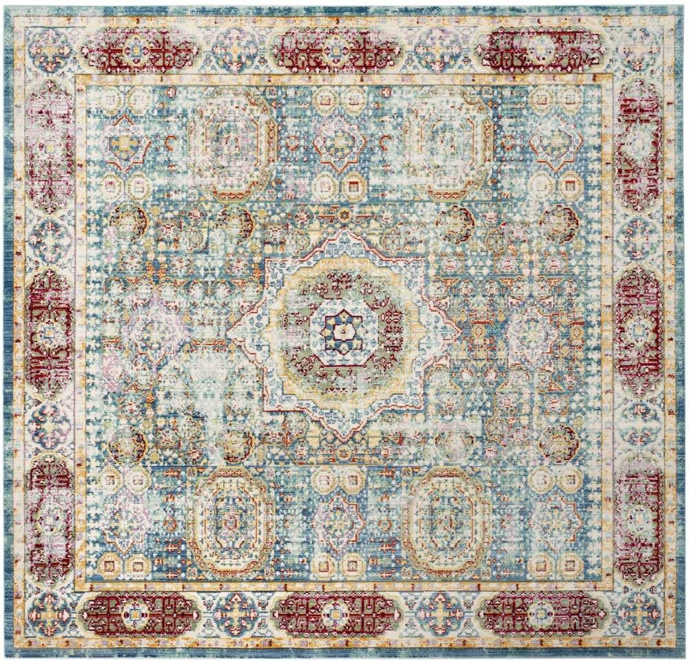 Photo of Blue Polyester Rug – 6'7 x 6'7