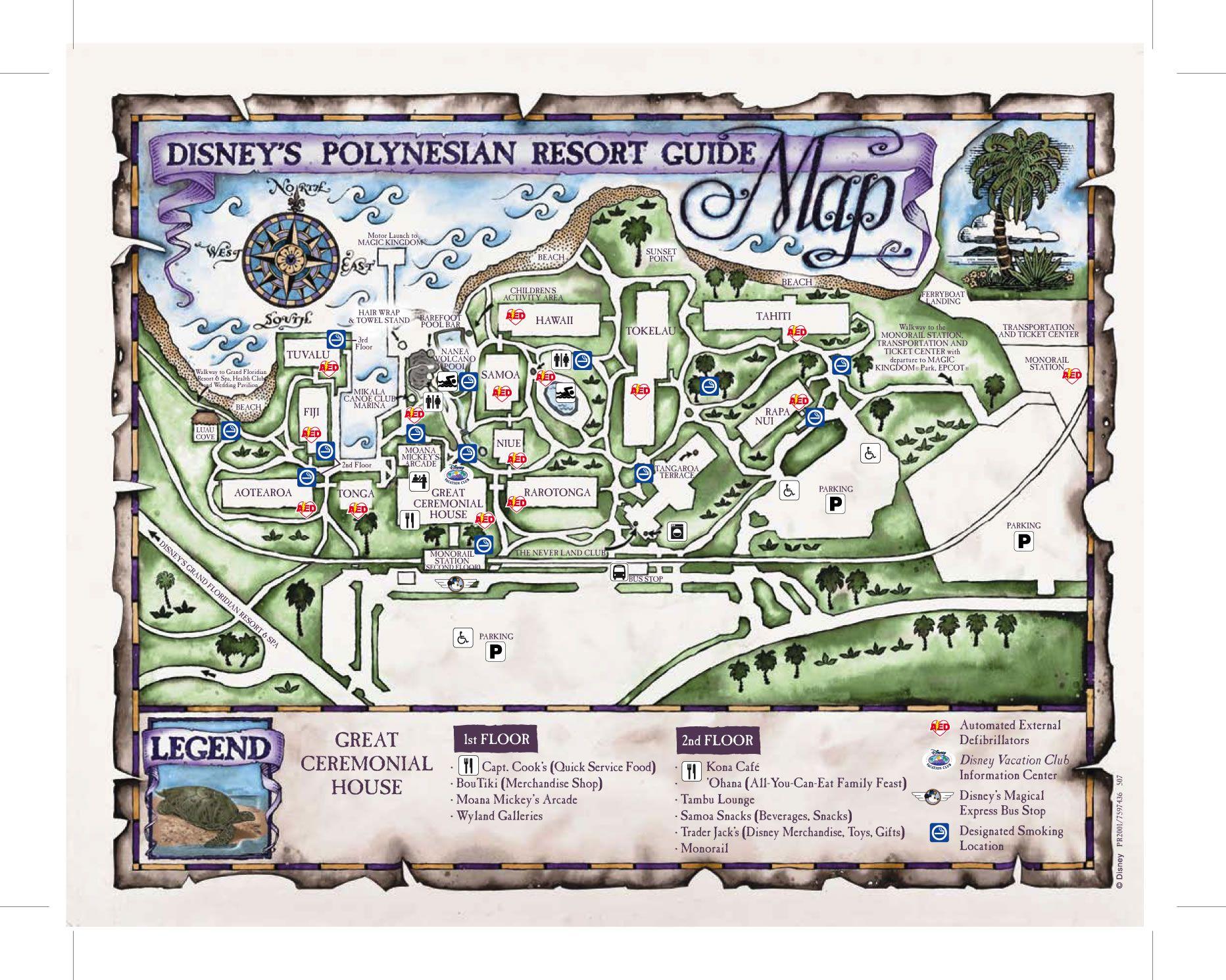 Disney Resorts -- Polynesian Resort map   WDW -- Disney Resorts ...