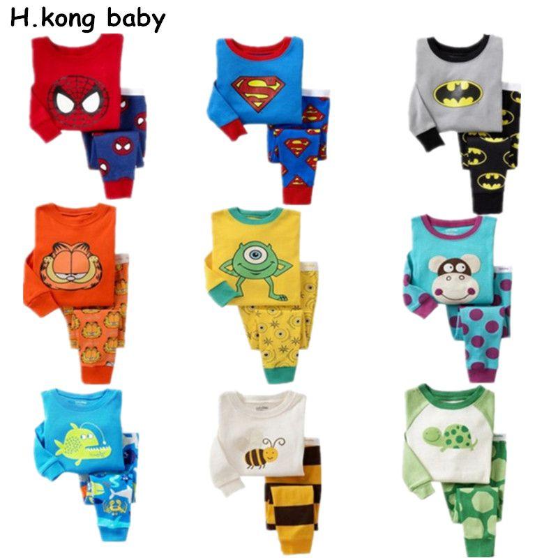 260742afaf710 H.kong baby Children pajamas sets cartoon boys Spiderman nightwear ...