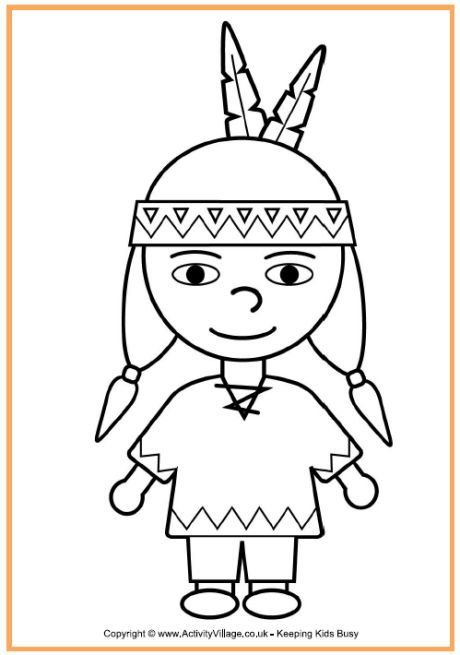 Native American Boy Coloring Page - Thanksgiving Coloring Pages for ...