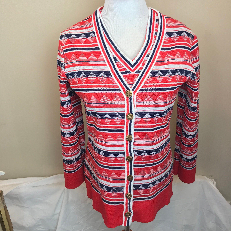 Vintage 60s Mod Geometric Red White Blue Shirt /& Cardigan Matching Set Womens Medium