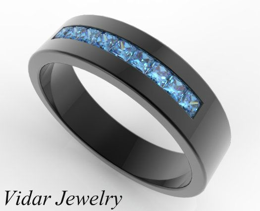 Black Gold Blue Diamond Wedding Band By Vidar Jewelry Men Bands