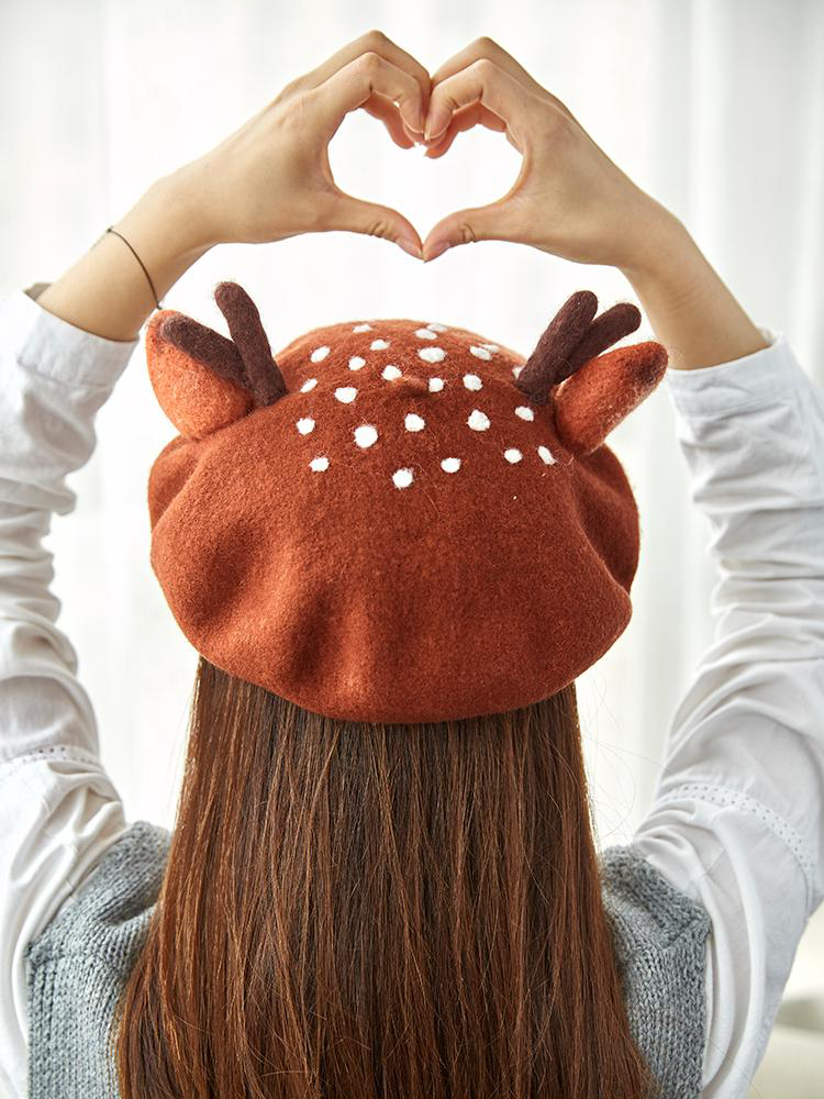 e769593b40ea2 Forest Style Dotted Deer Antler Beret Hat✨🦌✨ Super kawaii hat is  coming