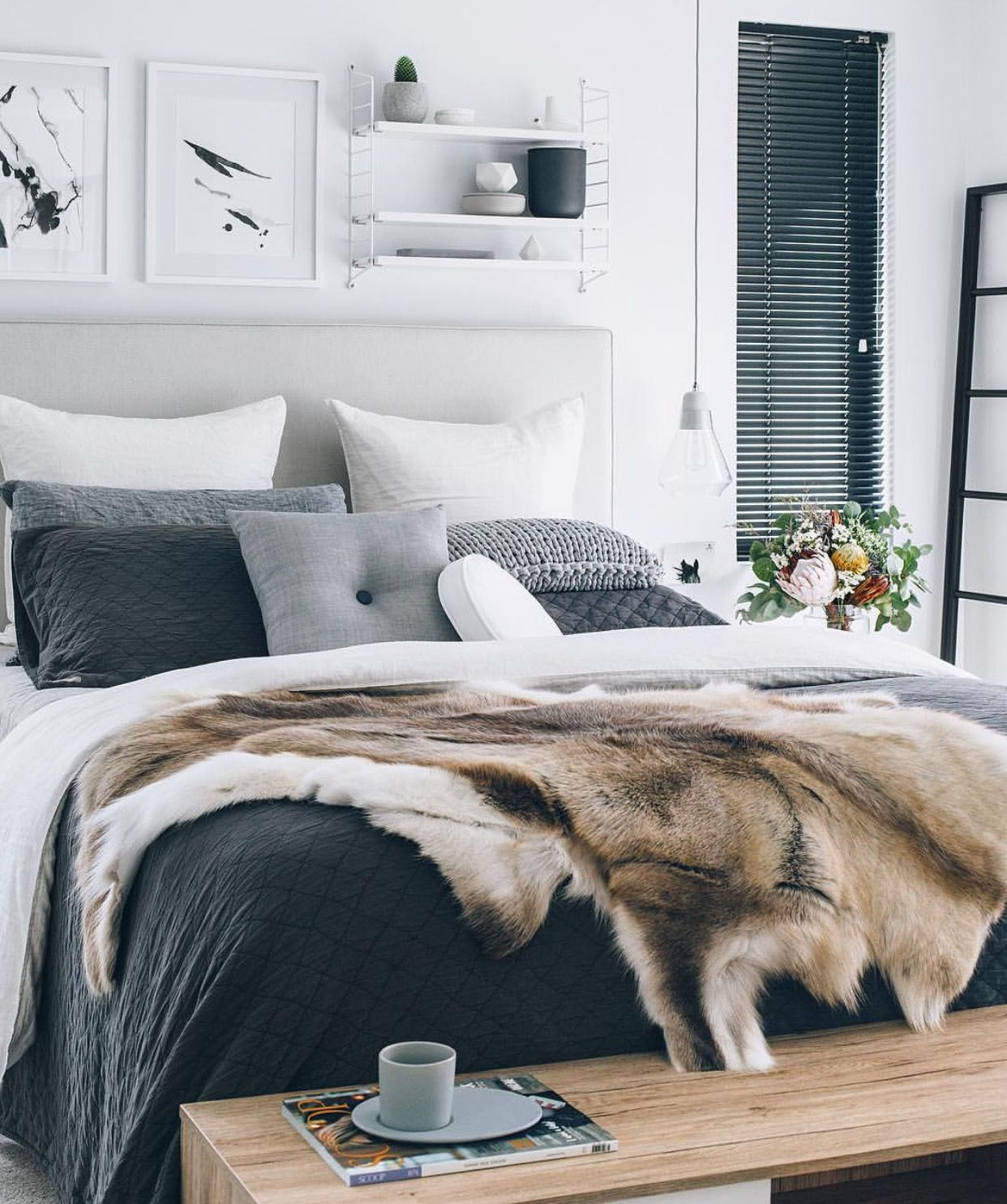 Stunning charcoal grey and white toned master bedroom for Charcoal grey bedroom