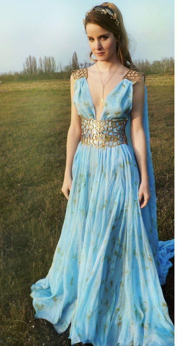 Daenerys Qarth Kostüm - Blaues Kleid mit Gürtel - Throne ...