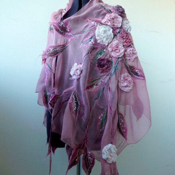 Nuno felted pink scarf shawl felting wool luxury by FfeltT