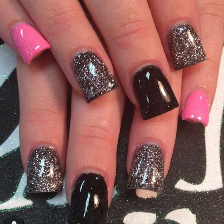 sparkly metallic black and pink nails id do tips only