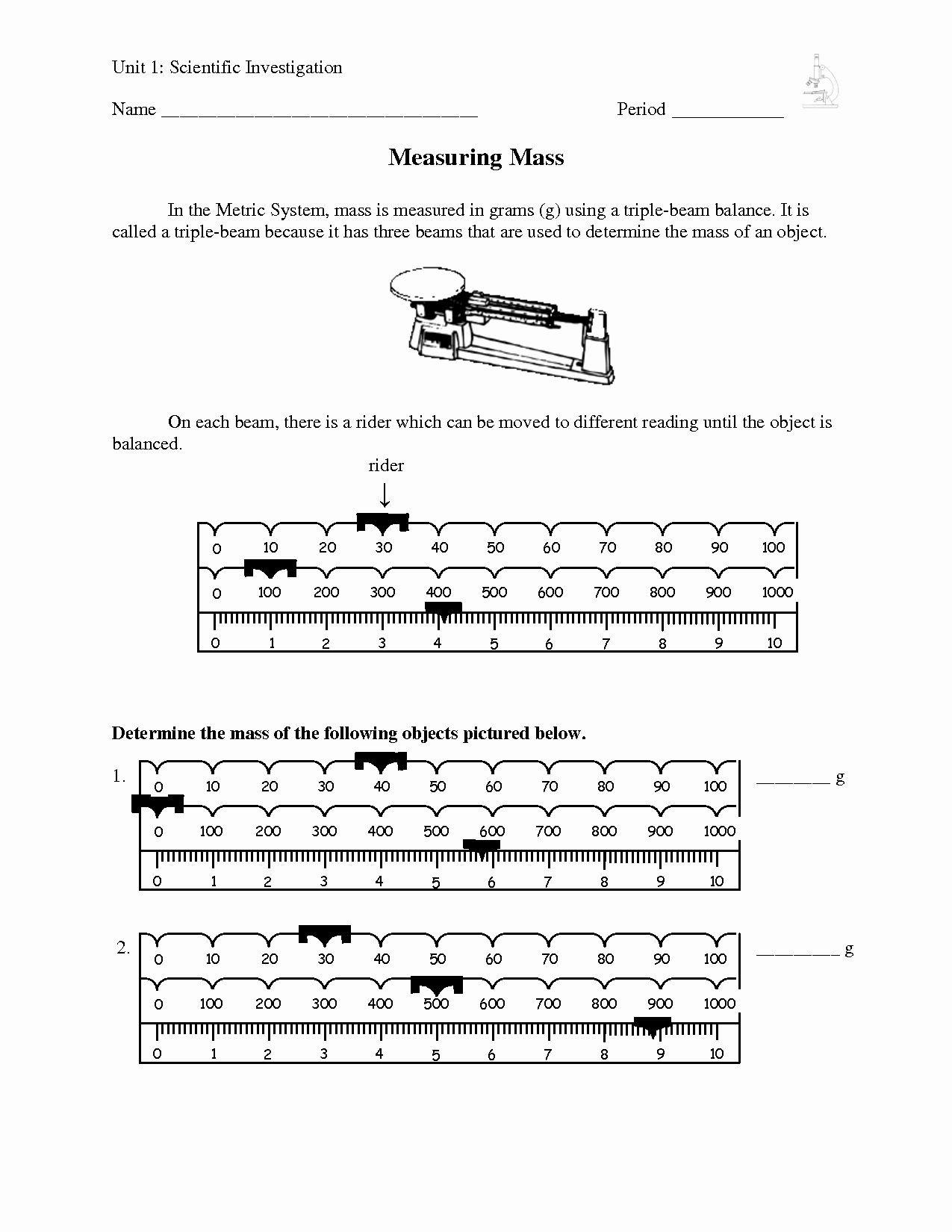 Triple Beam Balance Practice Worksheet Awesome Ph
