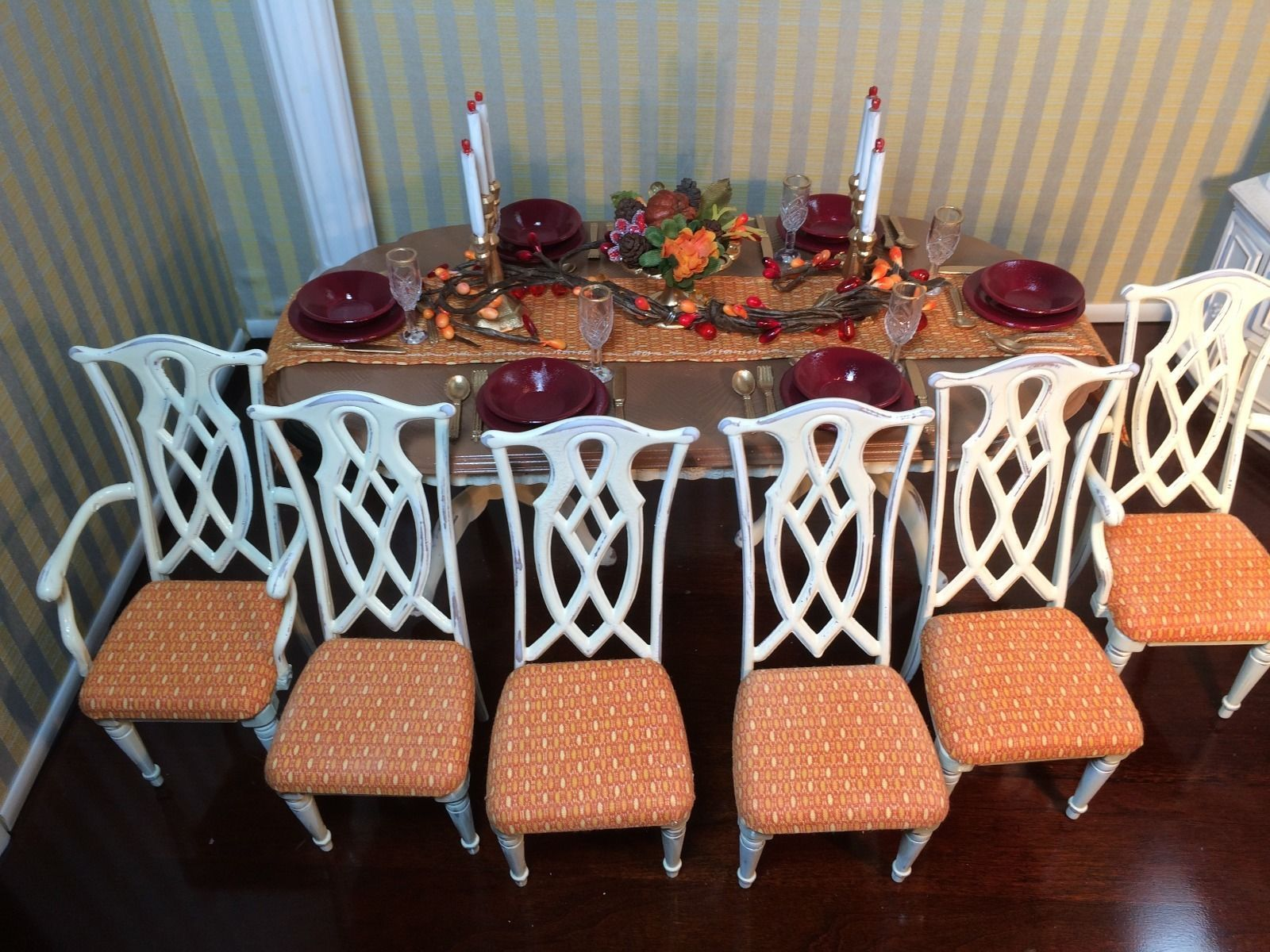 Ooak Realistic Barbie Dining Table 6 Chairs W Accessories 1 6