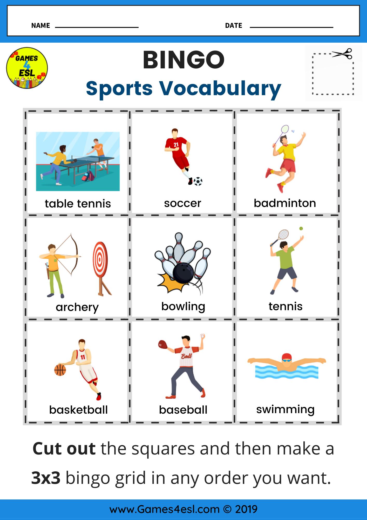 Sports Bingo Worksheet