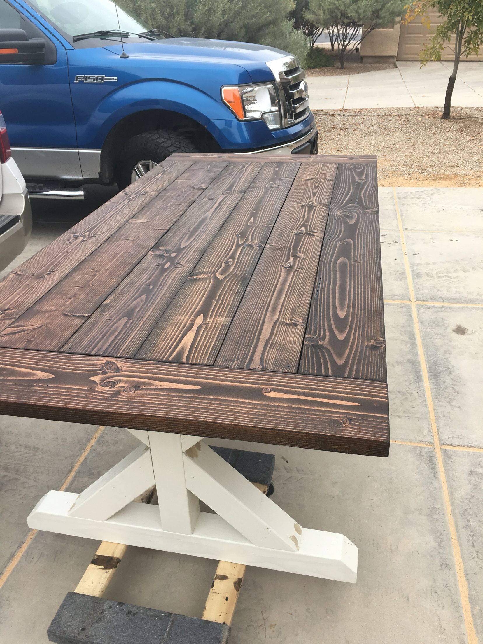Farmhouse table with off white legs & dark mixed stain top ...