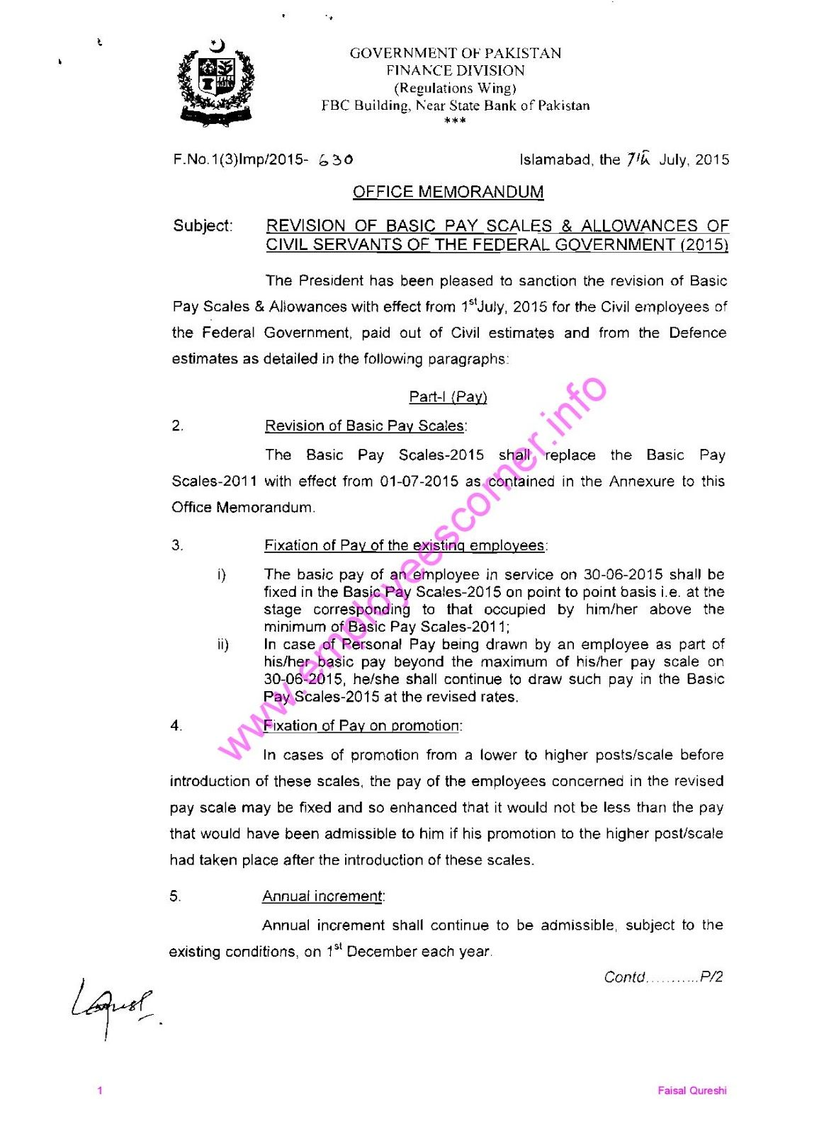 Notification of Revised Pay Scale 2015 | Jobs Corner | Scale, Bullet
