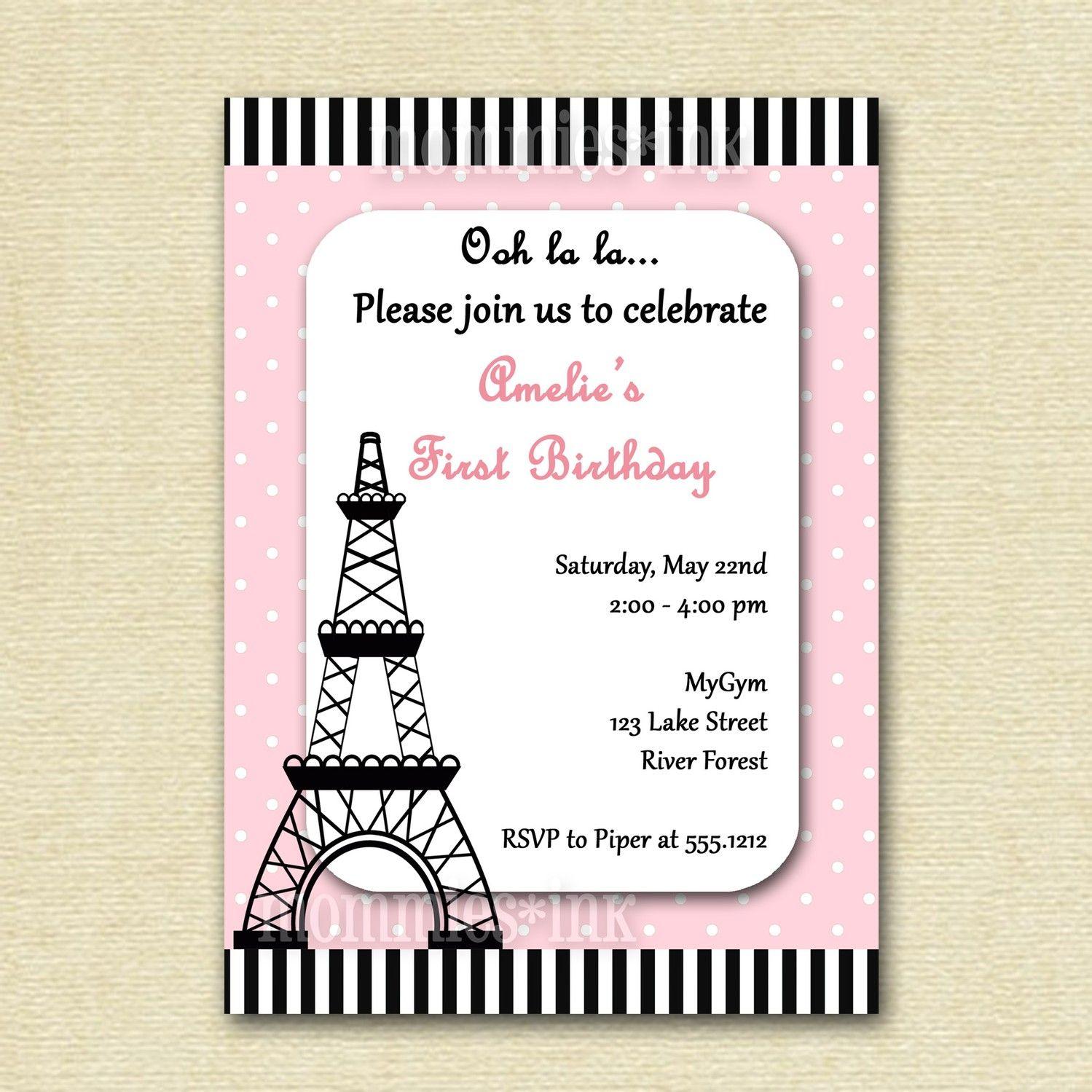 Eiffel Tower Birthday Party Invitation PRINTABLE by MommiesInk, via ...