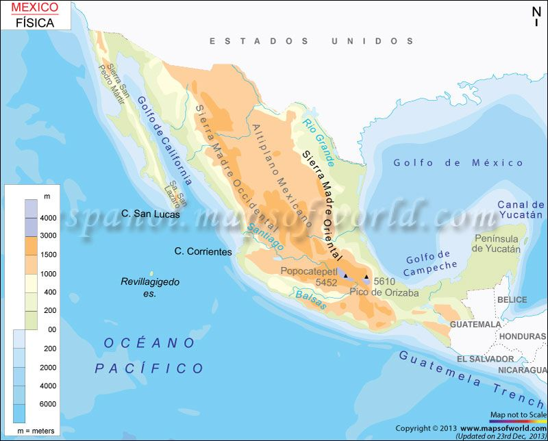 Mapa Fisico De Mexico Viaje Económico Pinterest - Maps de mexico