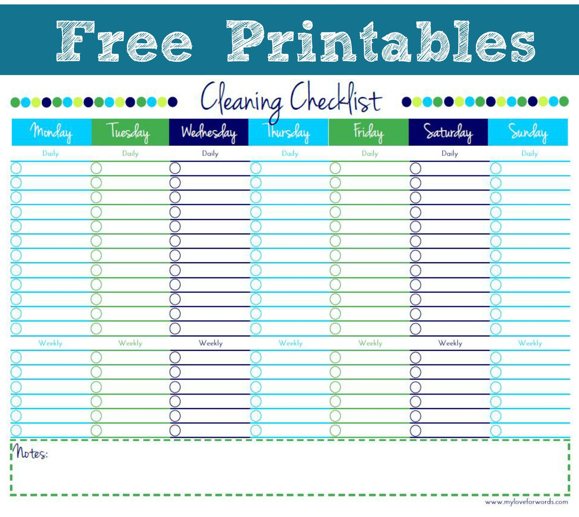 blank house cleaning checklist - 958×738