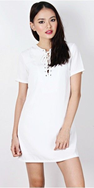 BACKORDER: IRA LACE IT UP SHIFT DRESS (IVORY)