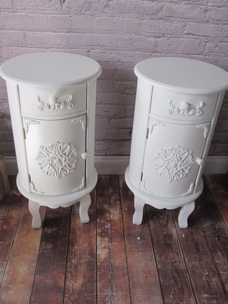 NEW Pair of White Shabby Chic Round Bedside Tables Cabinets w/ Cupboard  Drawer