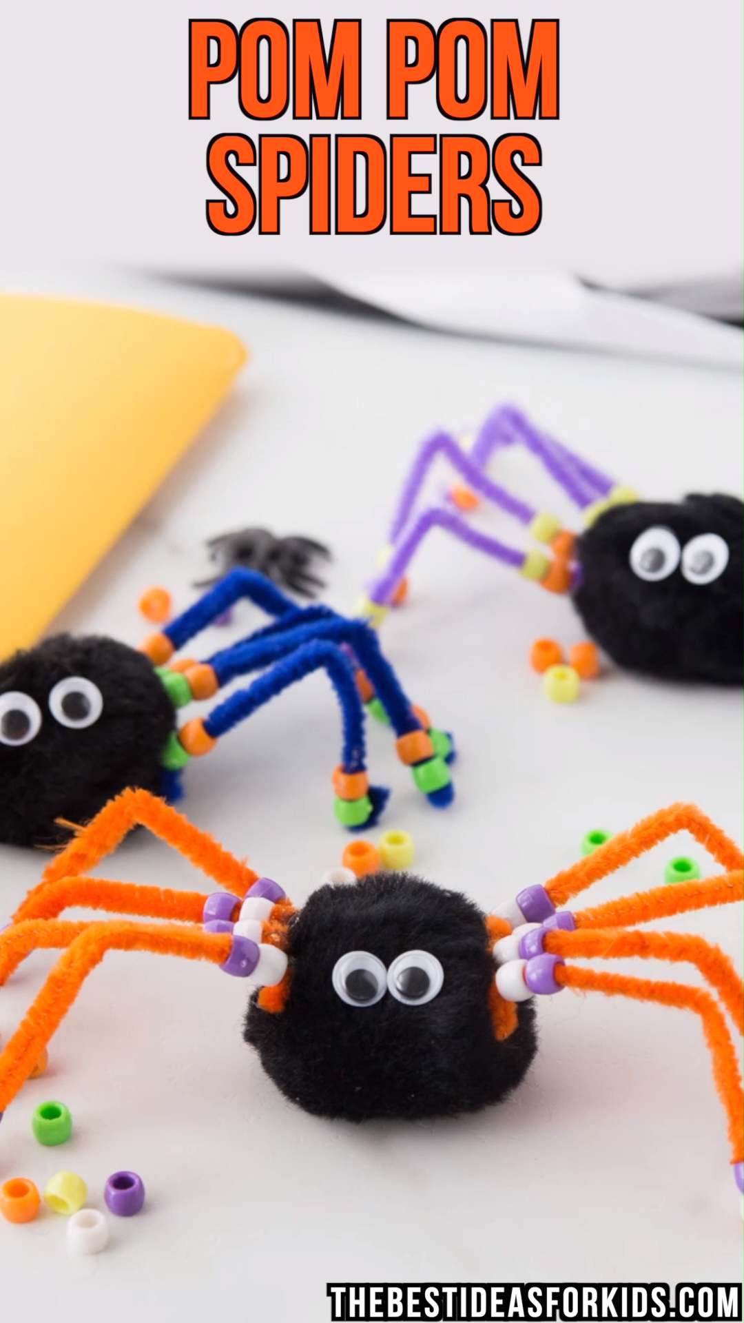 POM POM SPIDERS #halloweencraftsfortoddlers