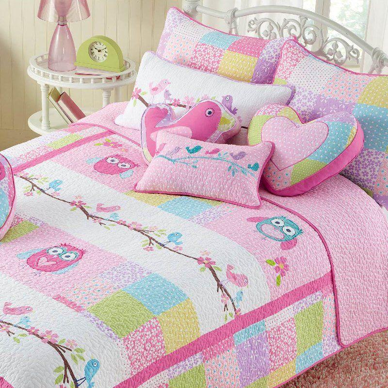 Bryce Pink Owl Quilt Set Kids Twin Bedding Sets Owl Bedding Green Bedding Set