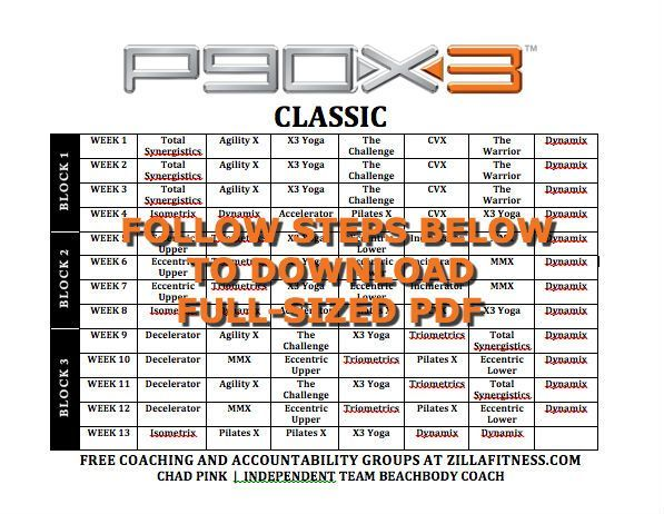 Image for Printable P90X3 Classic PDF Schedule Healthy Exercise - insanity workout sheet