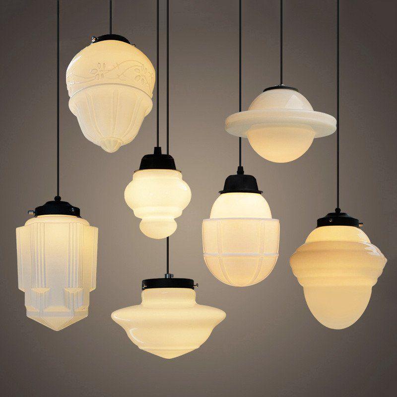 Art deco milk glass pendant light jaren 20 stijl lampen en verlichting - Eetkamer art deco ...