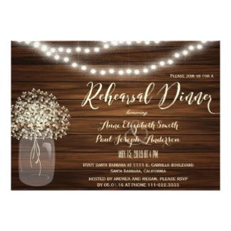Your rehearsal dinner guests will compliment you on your good taste when you send them this  rustic wood mason jar lights lace card. It's just one of many rehearsal dinner invitations you can choose from. You'll find a variety of styles, sizes and paper types or customize to suit your fancy, adding your own photographs. You can even print your invitations on high quality vinyl  laminated magnetic cards with a high gloss finish and full-color printing. Place your order and then visit us at…
