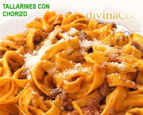 Tallarines con tomate y chorizo comida pinterest - Platos de pasta sencillos ...