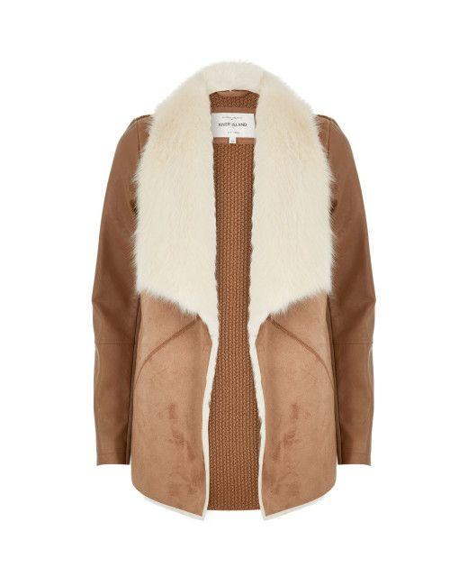 River Island | Multicolor Tan Faux Fur Collar Jacket | Lyst