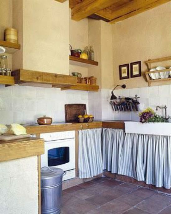 Muebles cocina rustica con telas cocinas cocinas for Ideas decorativas para cocinas pequenas