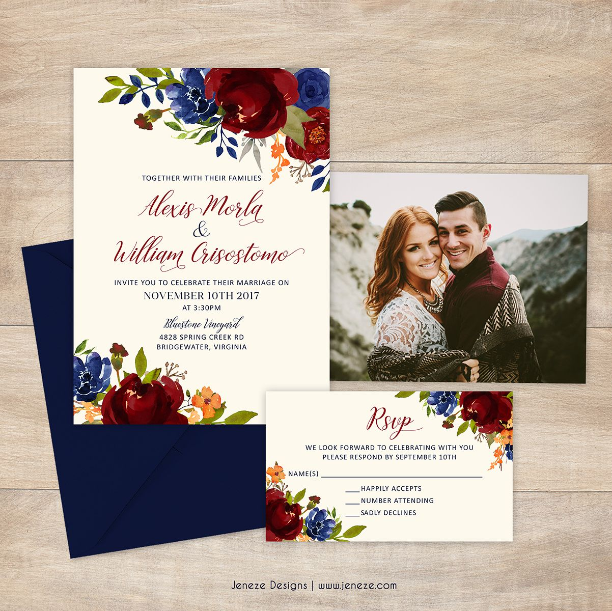 Wedding invitations with navy and red flowers. Warm summer or fall ...