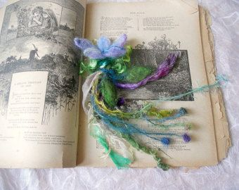 needle felted flower enchanted forest bookmark hair adornment corsage - woodland flower