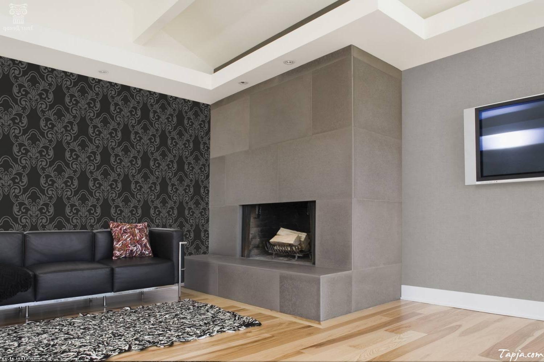Delightful living room interior decorating with wallpaper - Interior design living room wallpaper ...