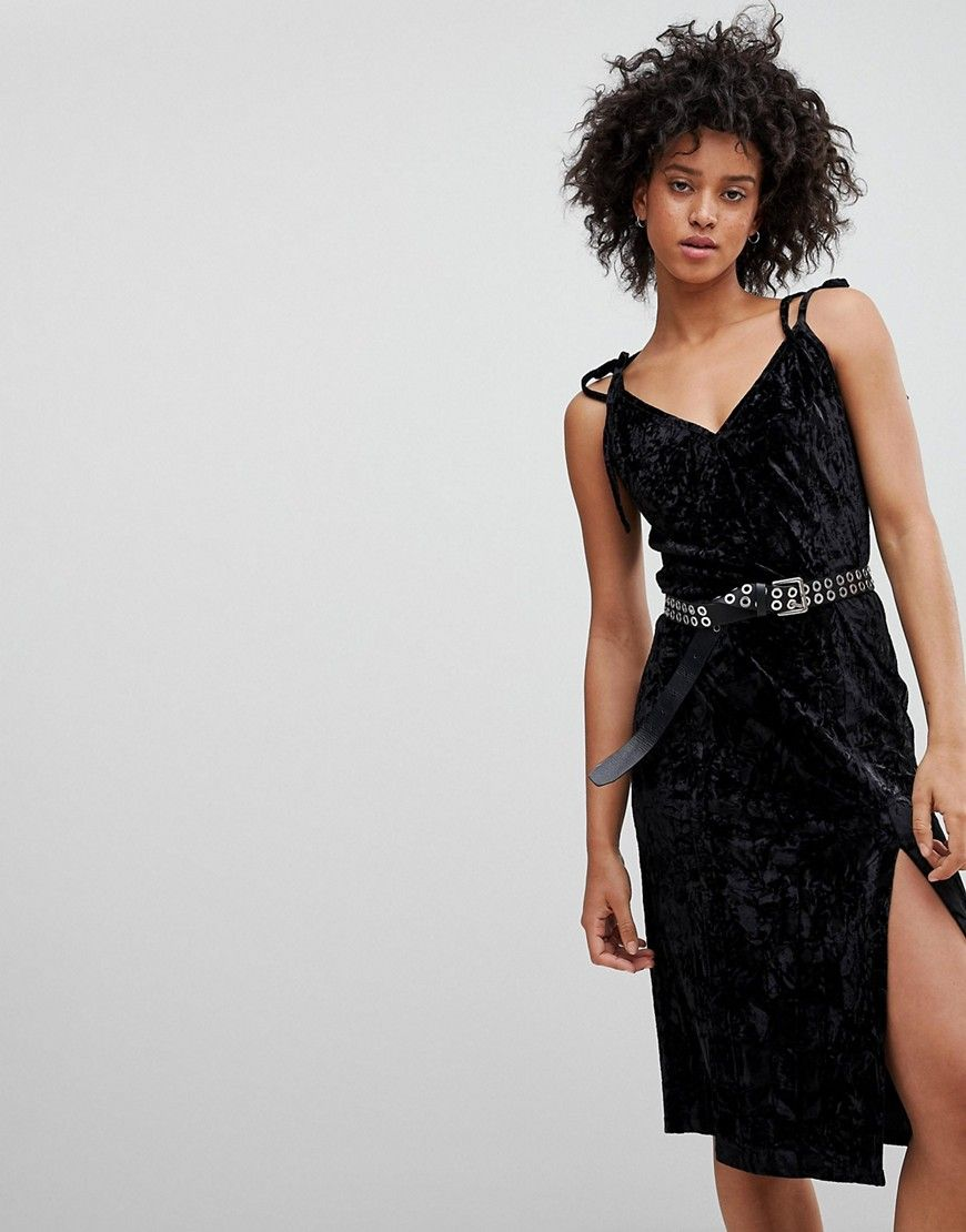 Cheap Sale Hot Sale Sale Footlocker Crushed Velvet Midi Dress - Black NYTT 2018 New Sale Online 100% Original 9B13zpgt