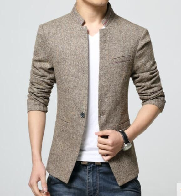 badf8bb03fe4 Men's Denim Shirt Urban Fashion 2016 - World Trends Fashion. Top Fashion  Korean Style Mens waist length stand collar Casual Blazers Coat Male Slim Fit  Suit