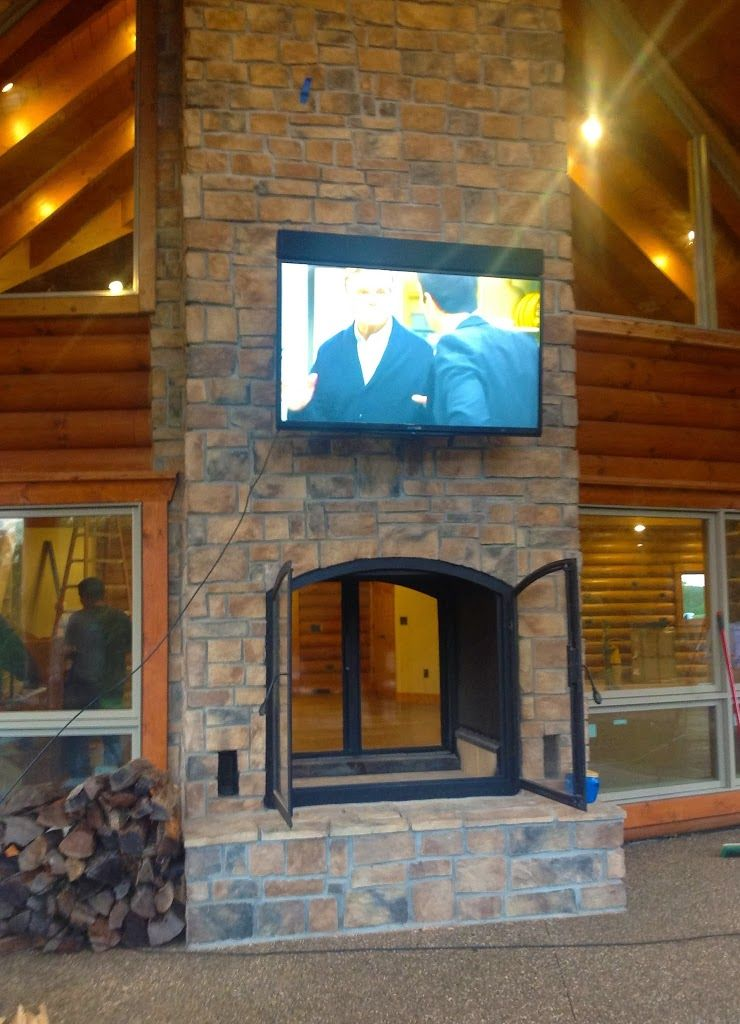 This See Through Wood Burning Indoor Outdoor Fireplace Was Custom Designed For A Log Home Being