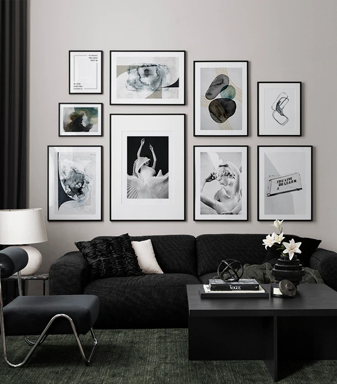 Dark Elegant Gallery Wall In The Group Gallery Walls At Desenio Ab Insp10408 In 2020 Gallery Wall Inspiration Wall Online Wall Art