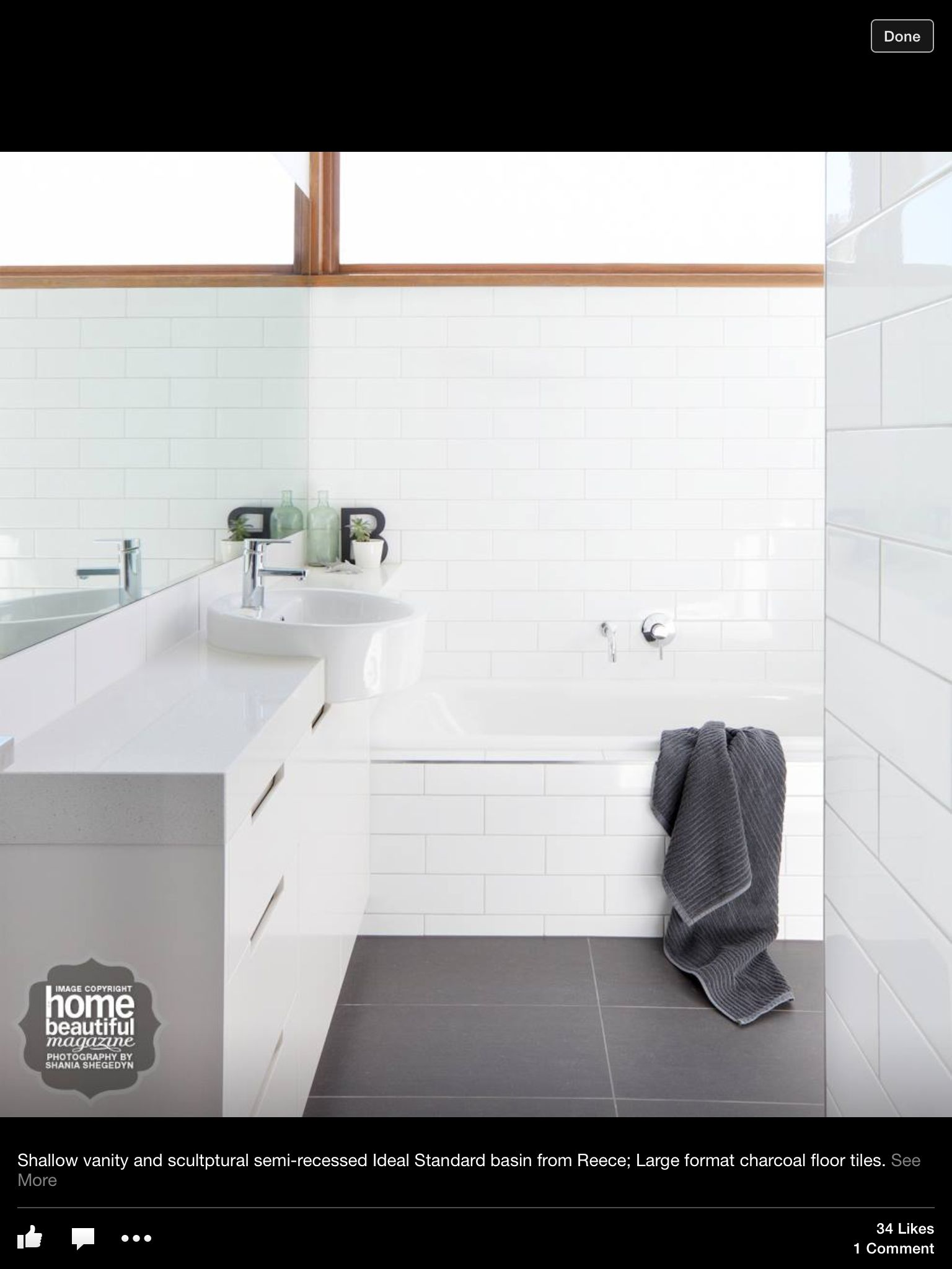 Charcoal Floor Tiles Mirror White On Walls Good For Small Space