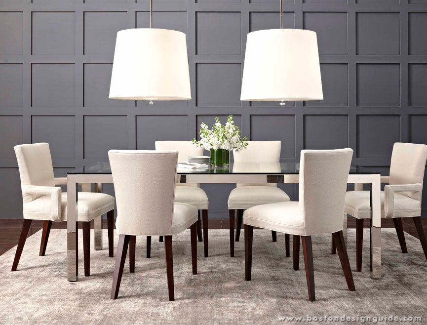 mitchell gold bob williams sidney dining chairs shimmer rug and classic parsons dining table