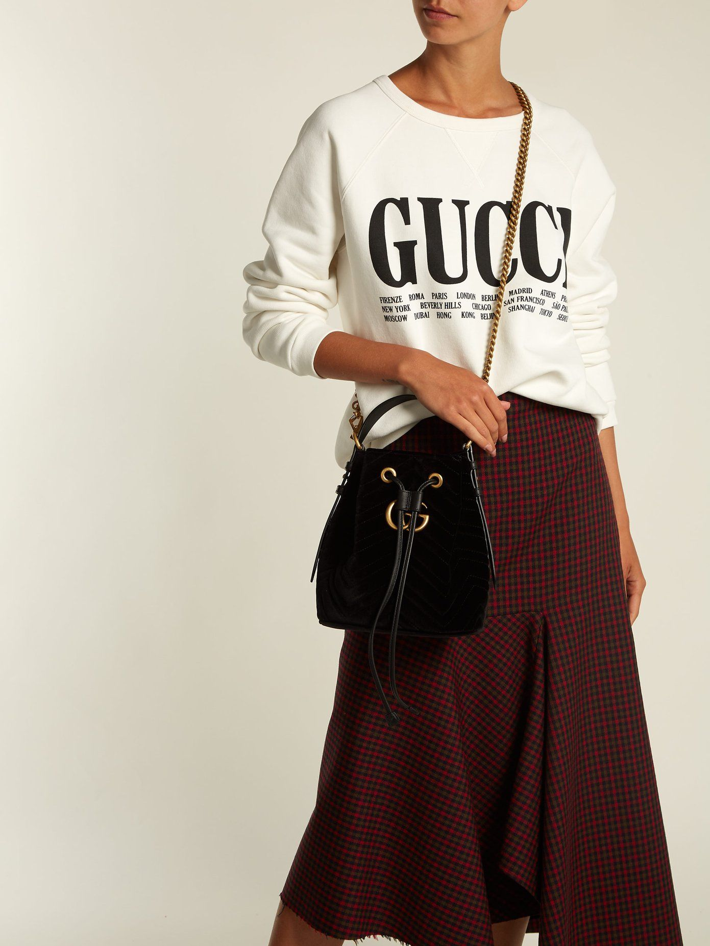 7be046c9f2 GG Marmont mini velvet bucket bag | Gucci | MATCHESFASHION.COM AU ...