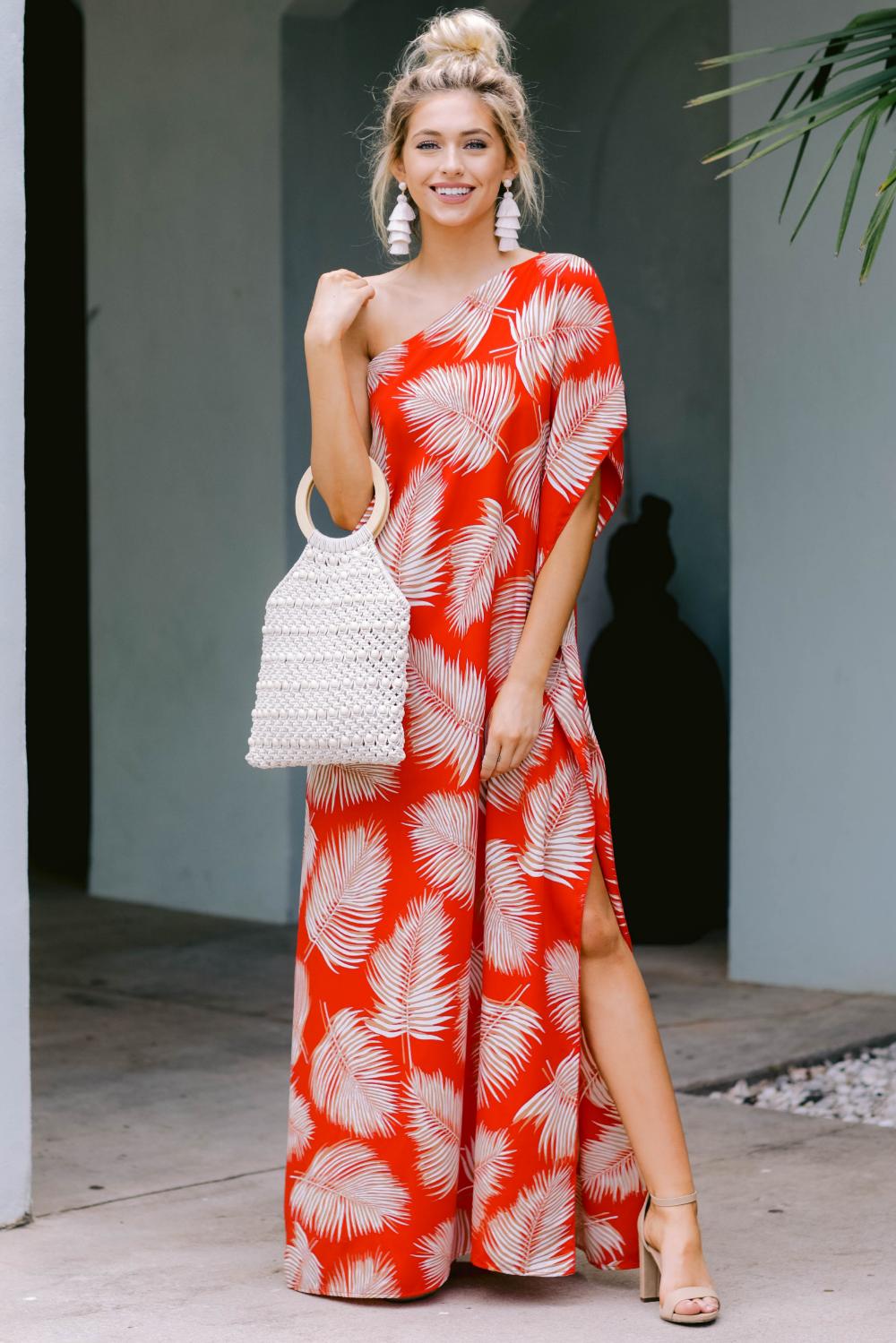 Stunning Flame Red Dress Maxi Dress One Shoulder Dress