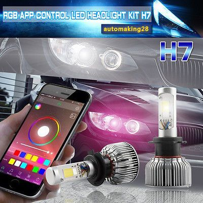 H7 LED Headlight Bulbs Kit + RGB Demon Eye APP Bluetooth Control for